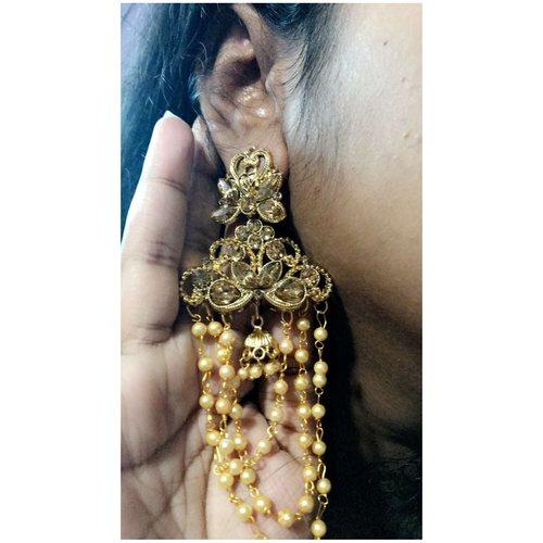 Devsena Three Layered Pearl Chain's Dangled Earrings !!