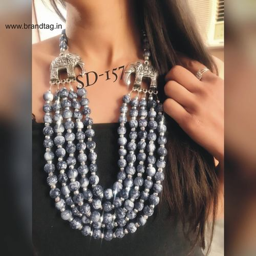 Valentine's Day Collection . . . Five Layered Grey Long Beaded Necklace for women !