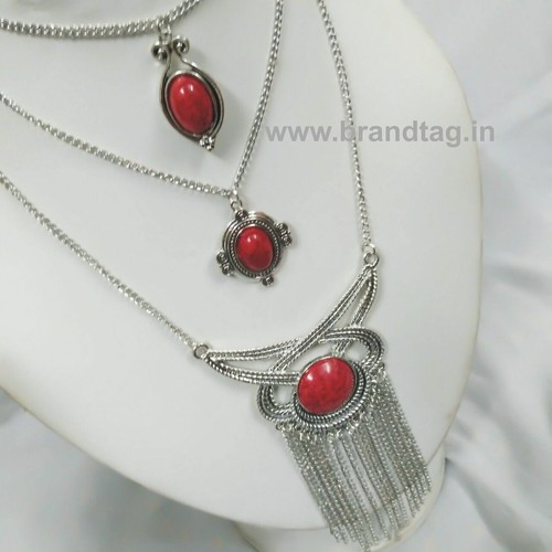 Valentine's Day Collection . . . Red Three Layered Silver oxidized Neck-piece for women !