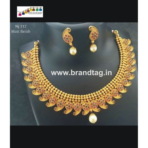 Exquisite Golden Koyari Matt finished Necklace set!