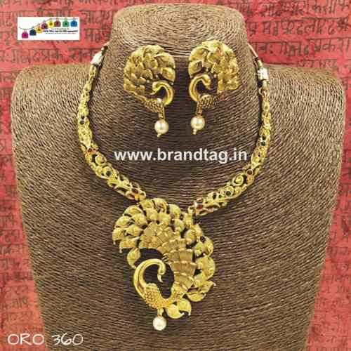 Exclusive Diwali Collection - Golden Peacock Neck fitted Necklace set!