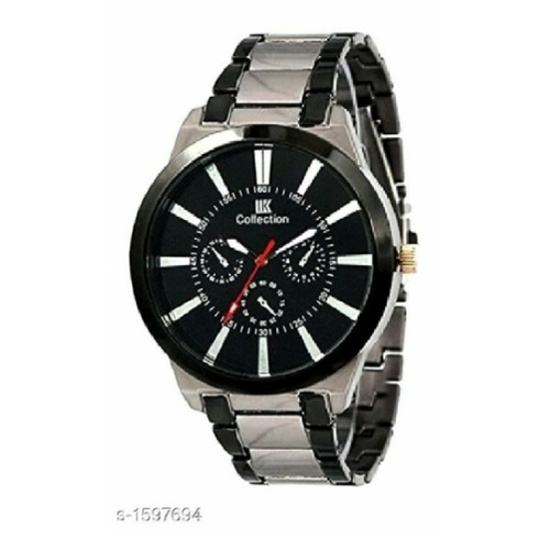 Collection Silver Stainless Steel Chain, Analog White Dial Men's Watch