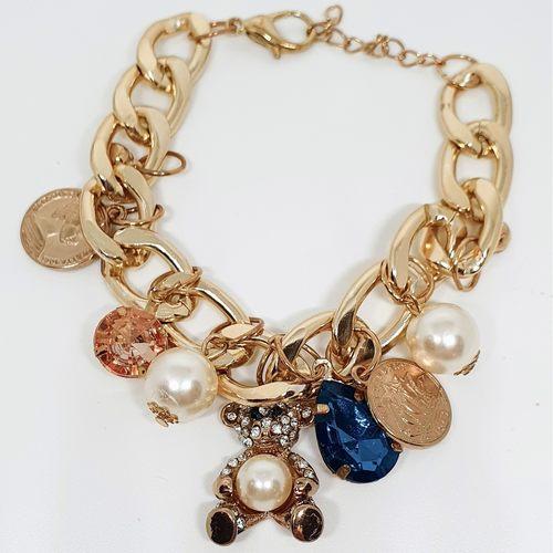 Set of Charm Bracelet with Teddy Bear design & Macaron Bag Charm and Key Chain