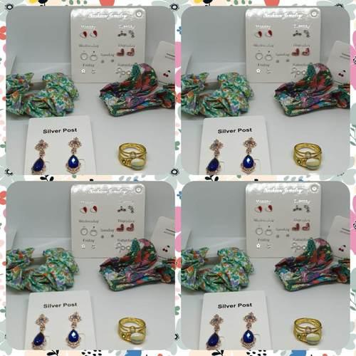 Set of Scrunchies, Earrings & Ring
