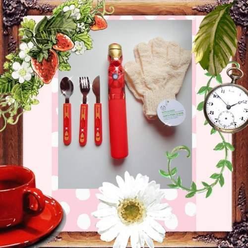 Miniso Avengers Ironman Cutlery set & Body Shop Bath Gloves