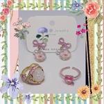 Set of Flower Earrings and Ring & Heart Ring