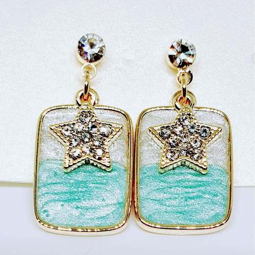 Silver Earrings with Star design - Made in Korea