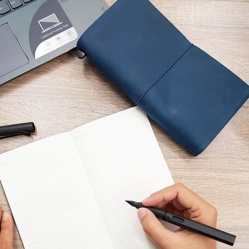 Notebook   Regular Size   Leather   Pan Am Blue