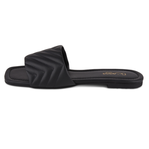Chevron Quilted Flats (Black)