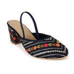 Sequins and Embroidered navy blockheels