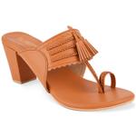 Tan Kolhapuri Block Heels