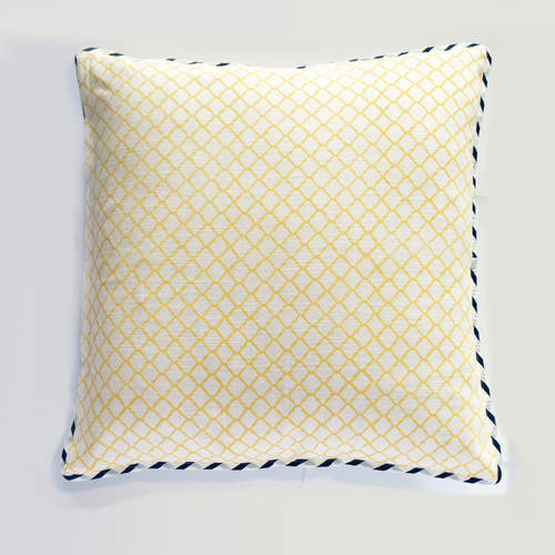 GREY YELLOW MOROCCAN DESIGN CUSHION COVER (21inches*21inches)