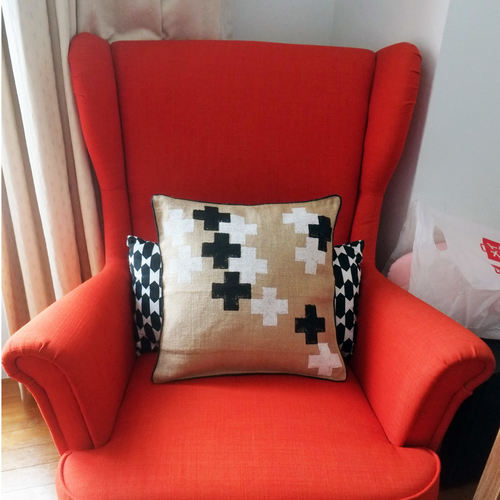 PLUS DESIGN CUSHION COVER IN JUTE (16inches*16inches)