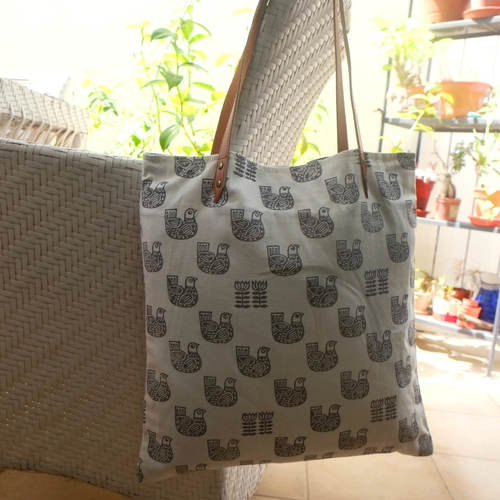 BIRD PRINT TOTE BAG