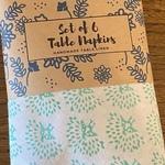 Sea Green Peacock Block Printed Table Napkins