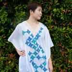 Blue Green Lace Kaftan