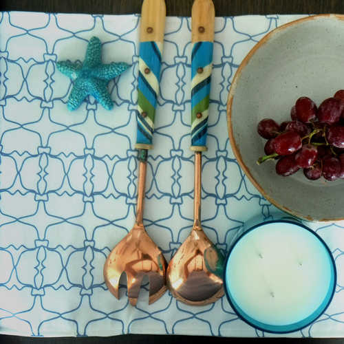 BLUE JAALI OUTLINE TABLE MATS (SET OF 6)