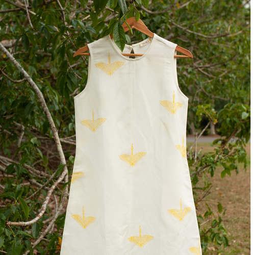 Sleeveless block printed dress
