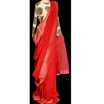 Crimson red muslin silk saree with jute weave