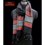 Cotton handwoven stole in charcoal black