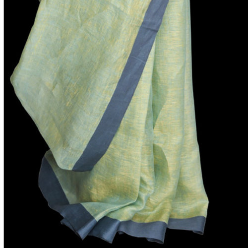 Mint green with steel blue border Linen saree   SOLD