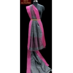 Ash grey khadi saree with fuscia pink border