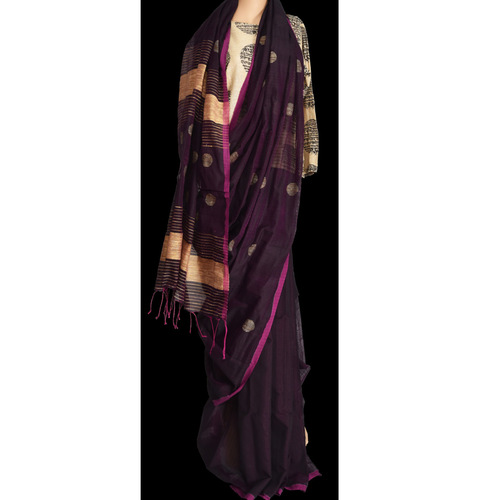 Handwoven cotton saree with ghicha weaved all over in wine colour