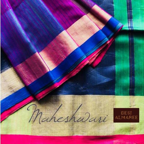 Deep voilet handwoven maheshwari with zari border and a mix of royal blue with fuschia patti