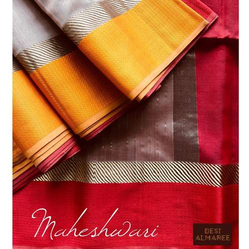 Ganga Jamuna handwoven Maheshwari in beige, red & gold