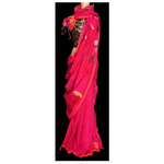 Magenta pink handwoven saree with jamdani weaved motifs all over SOLD