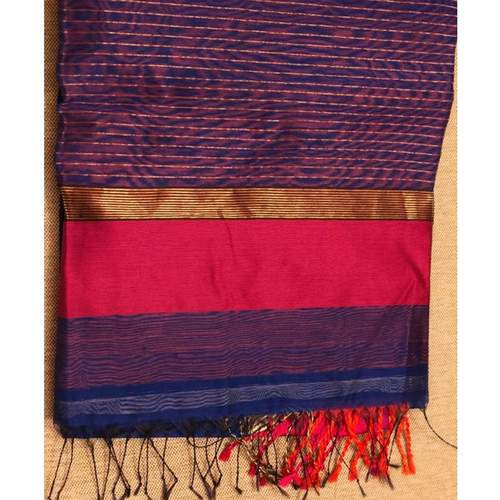 SOLD : Royal blue handwoven Maheshwari with fuchsia and orange woven border