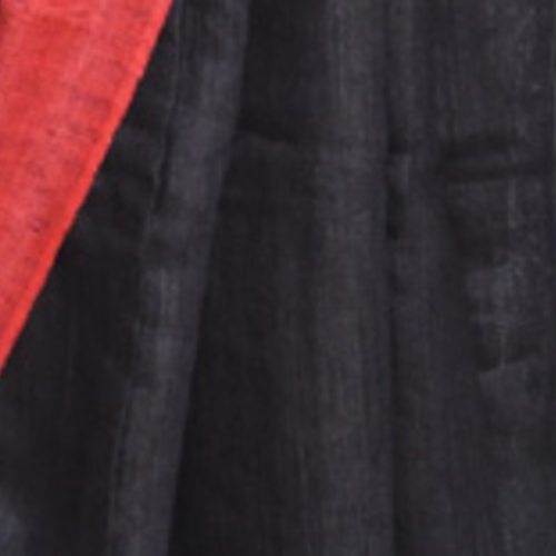 Jet black tussar silk with ruby border