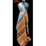 Steel grey block pinted saree with maroon pallu