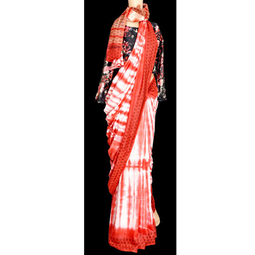 Red and white shibori handwoven silk cotton saree with weaved border