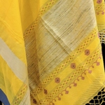 Sunflower yellow handwoven cotton saree with tribal weaved pallu   SOLD