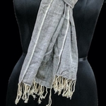 Soft handwoven cotton stole in steal grey