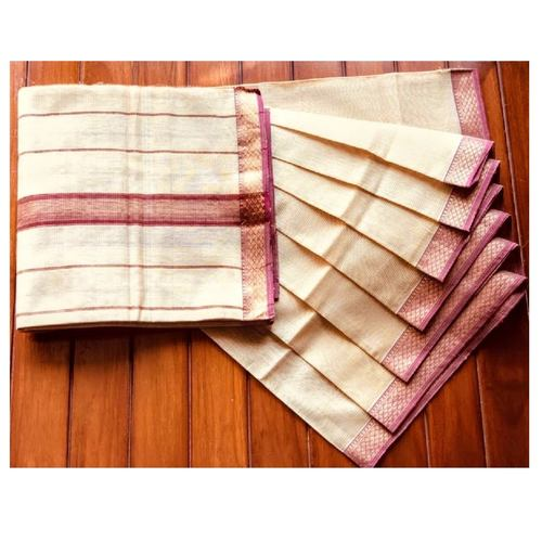 SOLD Ivory handwoven Maheshwari with mauve zari woven patti