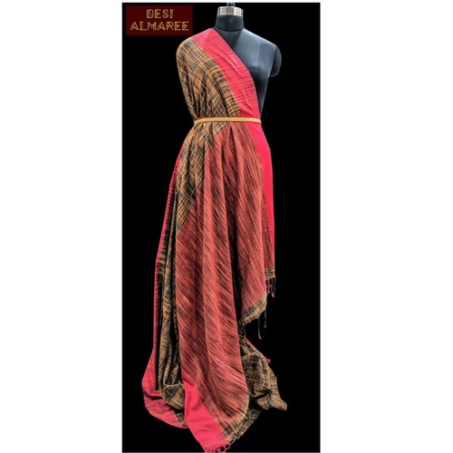 Yellow gold, black and maroon shaded Khadi saree