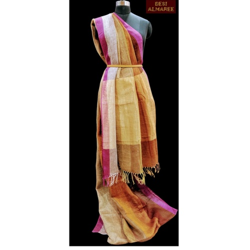 Linen saree in shades of yellow gold