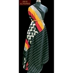 Black and grey white zigzag double ikkat saree with red, yellow border SOLD