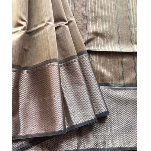 Coffee brown handwoven Maheshwari with broad woven resham border