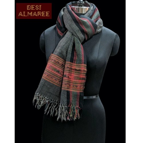 Ash black handwoven woolen stole from Uttarakhand  SOLD