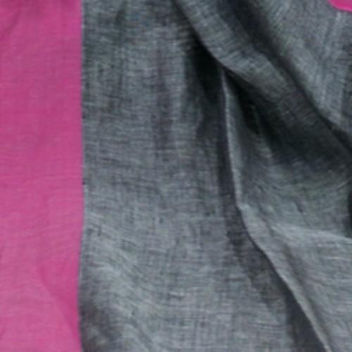 Ash grey khadi saree with fuscia pink border