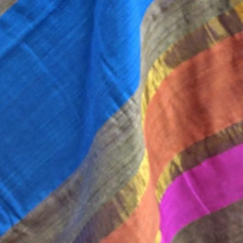 SOLD   Ivory raw silk saree with multicoloured pallu and matt zari border