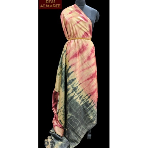 Pinkish peach coloured shibori silk  SOLD