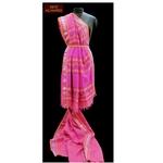 Fuscia Linen saree with Jamdani weaved pallu