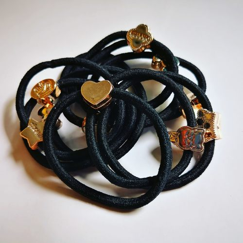 Black Elastic Rubber Band with Charm