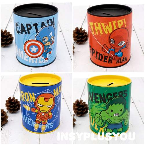 Avengers coin bank set - with snack and customized tag