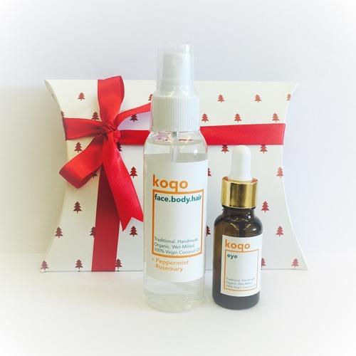 face.body.hair Handmade Coconut Oil +PEPPERMINT & ROSEMARY + Extra Sheer Eye + Gift Box