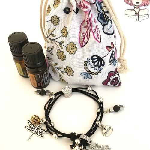 Hematite aromatherapy lava diffuser mom bracelet